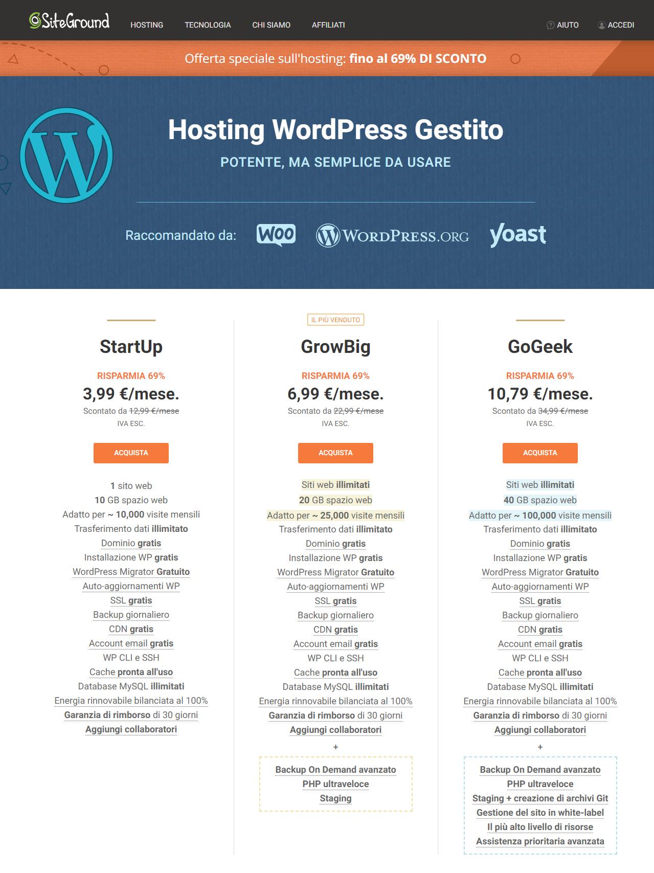 Hosting Siteground WordPress